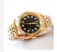 schwarze armbänder der männer großhandel-relogio masculino mens uhren Luxus kleid designer mode Schwarz Zifferblatt Kalender gold Armband Faltschließe Master geschenke paare