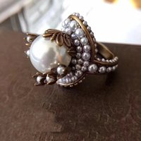 Wholesale white gold valentines day ring resale online - Vintage brass luxurious ring with nature pearl decorate and stamp logo charm ring jewelry christmas day thanksgiving valentines day jewel