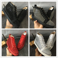Wholesale rhinestone studded - Luxury Brand With Box High Top Red Sneaker Bottom Fashion Rhinestone Studded Lace Up Causal Shoe Man Woman Cheap Sneaker Size 35-46