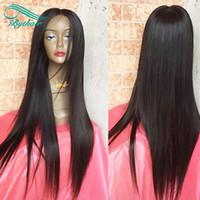 human hair wigs venda por atacado-Bythair Seda Base de Seda Reta Peruca de Cabelo Humano Em Linha Reta de Seda Brasileiro Virgem Do Cabelo Top de seda Peruca Cheia Do Laço Com Cabelos Do Bebê