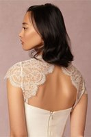 ingrosso giacca romantica in pizzo-Romantico Lace Bridal Giacche Wraps Bolero Lace Wedding Jackets Accessori da sposa Wrap Jacket Backless Open Back Illusion Capped Sleeves