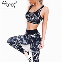 Wholesale womens long black vest - YOMAY 2PCS Running Set Women Sportswear Gym Vest Tank Top and Long Leggings Yoga Set Womens Sport Fitness Tracksuits
