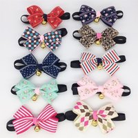 """Wholesale basic pcs - 10 PCS Dog Cat Bow Tie Neck Accessory Necklace Collar 7""""-13"""" Adjustable Bowknot Collar Bow Tie with Bell"""