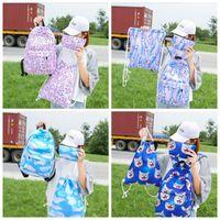 Wholesale girl notebooks - 3Pcs Unicorn Backpack 3D Preppy Printing BackPack Travel Softback Notebook Bag Mochila School Backpack For Girls Bagpack Set BBA239