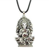 collar de mano de buda al por mayor-WYSIWYG 5 Piezas Cadena de cuero Collares Colgantes Gargantilla Collar Hecho a mano Collar Hombres Ganesha Buddha Elefante Colgantes 62x32mm N6-B11358