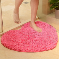 Wholesale shaggy bath mats for sale - Group buy cm Microfiber memory foam Soft Shaggy Non Slip Absorbent Bath Mat Bathroom Shower Rugs Carpet Pink Red Heart Shape Mats