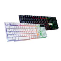 Wholesale wired backlit keyboard - Colorful Crack LED Illuminated Backlit USB Wired PC Rainbow Gaming Keyboard 6A25 Drop Shipping