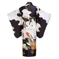 5c1d38542d Black Woman Lady Japanese Tradition Yukata Kimono Bath Robe Gown With Obi  Flower Vintage Evening Party Dress Cosplay Costume