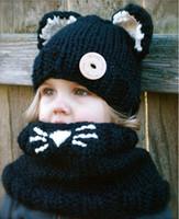 bebek kızları siyah şapka toptan satış-Kış Sıcak Kızlar Bebek Moda Kapşonlu Sevimli Şapkalar Atkılar 2 adet Setleri Triko Siyah Haki Şapkalar
