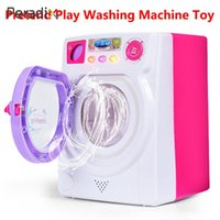 Wholesale toy washer for sale - Simulation Washing Machine Washer Toy Washing Machine Toy Pink Miniature Electric Rotate Filling Water Girl Kitchen