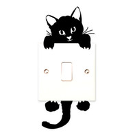 Wholesale wall window murals - Hot Sale Cute New Cat Wall Stickers Light Switch Decor Decals Art Mural Baby Nursery Room Sticker PVC Wallpaper for living room CA-329