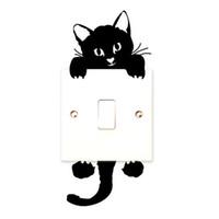 ingrosso decalcomanie murale di scuola materna-Vendita calda Cute New Cat Wall Stickers Light Switch Decor Decalcomanie Arte Murale Baby Nursery Room Sticker PVC Wallpaper per soggiorno CA-329