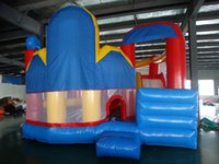 Wholesale kids riding toys resale online - Popular amusement park ride big trampolines bounce house and slide combo kids playground equipment