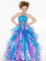 вечерние платья размер 14 девушка оптовых-Прекрасный синий / фиолетовый недоуздок органзы бусины цветочница платья девочек конкурс платья день рождения праздники платья нестандартный размер 2-14 FF726053