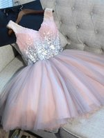 Wholesale short party dresses - 2019 V Neck Tulle A Line Homecoming Dresses Sequins Knee Length Formal Party Short Prom Dresses With Lace Up Back BA9973