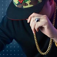 collar de oro de 14mm. al por mayor-Conjuntos de joyería de acero de titanio 24K chapado en oro plateado pulseras de collar de eslabones cubanos alto pulido para hombre cadena de bordón de Hip Hop 8 mm / 10 mm / 14 mm