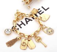 takı taşları toptan satış-Alaşım Anahtar Bilezikler Aşk Kalp Gem Ile 925 Ayar Gümüş Altın Kaplama Kolye Charm Bilezik Bileklik Takı Erkekler Kadınlar Için B029