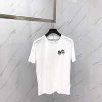 Wholesale Top Tees Brand - 2018 new summer brand men T-shirt White collar Small embroidery crown Little people head embroidery short sleeves man Tops Tees