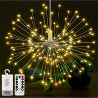 dekoratives feuerwerk großhandel-180led Feuerwerk Kupfer Schnur Licht Bouquet Form LED Lichterketten Batteriebetriebene dekorative Lichter mit Fernbedienung für Hochzeit