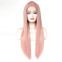 Wholesale straight pink cosplay wig for sale - Beautiful Cosplay Heat Resistant Glueless Wig Natural Hairline Straight Fully Wigs for Women Rose Gold Mixed Pink Synthetic Lace Front Wig