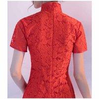 Wholesale cheongsam mini skirt - Cheongsam spring 2018 new fashion lace short dress, lady's cheongsam skirt summer short sleeves temperament ladies dress