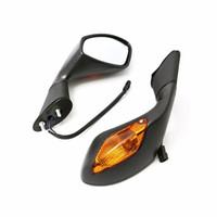 espejos laterales de señal de giro al por mayor-Espejos retrovisores laterales con LED Luz de señal de giro para HONDA CBR250 600 1000 Suzuki GSXR600 750
