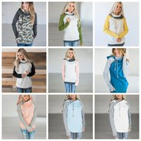 Wholesale Full Zip Hooded - Double Hood Hooded Hoodies Sweatshirts Women Drawstring Pullover Hoodie Female Patchwork Sweatshirt Autumn Coat Warm zip hoody Maternity Top
