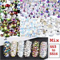 sırt kristalleri ss16 toptan satış-1 Paket Mix SS3-SS16 Crystal Clear AB Opal Beyaz Olmayan Düzeltme Flatback Tırnak Rhinestones 3D Charm Strass Taşlar Nail Art Süslemeleri