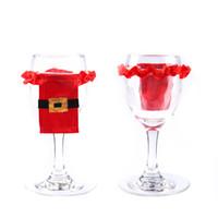 champagner-hochzeitskleid zubehör großhandel-New Christams Lovely Dress Weinsets Toasten Champagner Glasflasche Hochzeitskleid Set Zubehör Party Dekoration