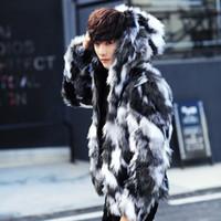 erkek kış kürk toptan satış-Sol ROM Kış erkek kürk palto Erkek Kürk Palto Ile Hood FurParka Boy Erkekler Palto Sıcak Faux Ceket Erkekler S-3XL