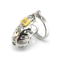 jaulas de escroto bdsm al por mayor-Dispositivo de castidad masculina Nuevo diseño Pene Lock Scrotum Ring Cock Cage Cinturón de castidad de acero metal para hombres Fetish BDSM Bondage Gear Sex Toy