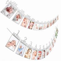 bir yıl boy toptan satış-12 Ay Fotoğraf Çerçevesi Afiş İlk Mutlu Doğum Günü Süslemeleri 1st Erkek Bebek Kız Benim 1 Bir Yıl Parti Malzemeleri Altın Pembe Gümüş
