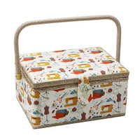ткани подарки оптовых-Handmade Sewing Basket with Sewing Kit Accessories Fabric Crafts Tools Storage Box Best Gift for Mother 30.5*23*16cm