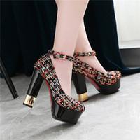 zapatos del club del brillo al por mayor-Zapatos de vestir de mujer de tela compuesta de moda Zapatos de plataforma de tacón alto de 12.5 cm de altura Bombas de correa de tobillo de dama de fiesta blancos casuales