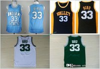 Wholesale Mens School - 2017 New MENS Indiana State Sycamores Larry Bird College Jerseys Baby Blue Stitched 33 Larry Bird New Valley High School Jersey