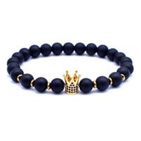 schwarzes perlen armband für frauen groihandel-Großhandel Mode Neue Kaiserkrone CZ Armbänder für Frauen Männer Persönlichkeit Schmuck 8mm Schwarz Naturstein Perlen Armband Geschenk