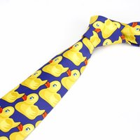 Wholesale funny ties - Fashion Cartoon Yellow Duck Design Ties Men For Funny Party Performamce Wear Neckties Students Popular Cravats 44 87mz Z