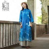 ingrosso vestiti blu orientali-LZJN 3/4 Sleeve Blue Dress 2018 Estate Autunno tradizionale cinese vestito lungo stampa floreale moderna cheongsam orientale Qipao Robe