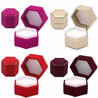 Wholesale display storage boxes for jewelry online - Hexagonal Finger Ring Box Jewelry Display Holder Velvet Ring Storage Box Case Container For Ring Earrings Xmas Gift Colors HH7