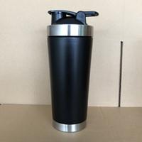 garrafa de agitador preto venda por atacado-24 oz de aço inoxidável shaker Proteína copo 720 ml vácuo shaker shaker misturador de esportes garrafa de água Milkshake copo preto fosco prata