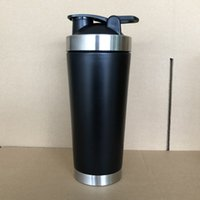 Wholesale mixer bottle resale online - 24oz stainless steel Protein shaker cup ml vacuum insulated shaker water bottle sports mixer Milkshake cup matte black silver