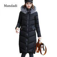 Wholesale Ladies Cotton Jackets - 2017 Winter coat women Parkas Long Women Cotton Padded Jacket outwear Cotton-Padded Long Jackets winter ladies coats