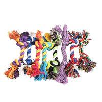 18 игрушек оптовых-Домашние животные собака хлопок жует узел игрушки красочные прочный плетеный костяной веревки 18 см забавный собака кошка игрушки
