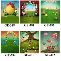 Wholesale 5x7ft Happy Easter Photography Backdrops Vinyl Printed Colorful Eggs Baby Newborn Photo Shoot Props Spring Background for Studio