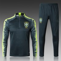 abrigo de tren al por mayor-Traje de entrenamiento de chándal de fútbol de Brasil de la Copa Mundial 2018 18 19 coutinho DANI ALVES abrigo de chándal de survetement de brasil pantalones largos
