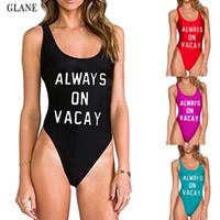 60a4474c2102f 2017 Hot Sport Swimwear Sexy Women ALWAYS ON VACAY One Piece Bikini  Monokini Beach Swimsuit Swimwear Bandage Bathing suit