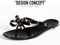 Wholesale Bowtie Sandals - Woman Fashion Sandals Rivets Big Bow Knot Flip Flops Beach Sandals