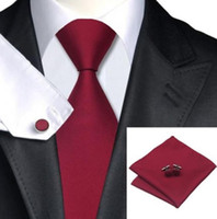 kravat takımları mendil kol düğmeleri toptan satış-Dokuma Ipek Kravat HandMade Mens Kravat Kol Düğmeleri ve Mendil Seti Hanky Hediye