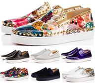 erkek tasarımcı tekne ayakkabıları toptan satış-Son Tasarımcı Kırmızı Alt Sneakers Rahat Ayakkabılar Womens Siyah Lows Spike Flats Loafer'lar Pik Tekne Hakiki Deri Tasarım Adam ...