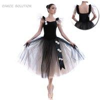 uzun kollu tutu kostümleri toptan satış-Siyah Kadife Puf Kollu Bale Uzun Tutu Sahne Performansı Dans Kostümleri Dans Tutu Kız Kadın Giyim Balerin